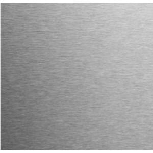 Tôle inox brossé 1,5mm(protégé sur la face déco) sur mesure.