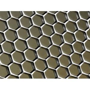 """Tôle brute perforée sur mesure ép. 1mm, trous de 2mm hexagonaux """"nid d'abeille"""""""