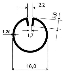 Profils ø18mm d'encadrement en acier pour tôles jusqu'à 2mm