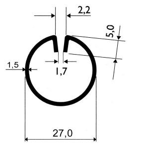 Profils ø27mm d'encadrement en acier pour tôles jusqu'à 2mm