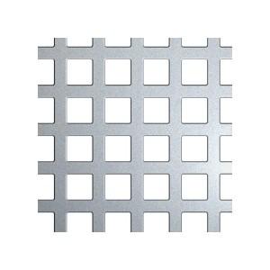 Tôle brute perforée sur mesure, trou carré 10mm épaisseur 1,5mm